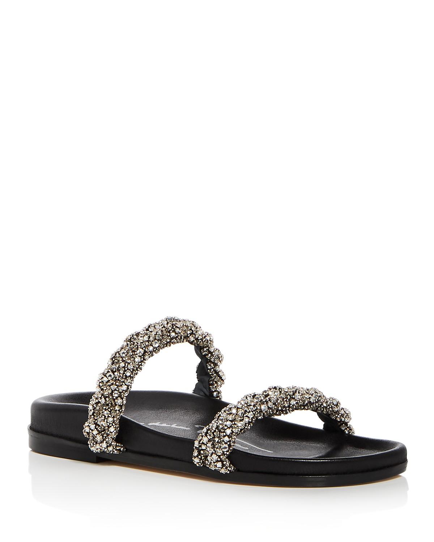 Oscar de la Renta Women's Charlee Crystal Embellished Satin Slide Sandals sqPAh