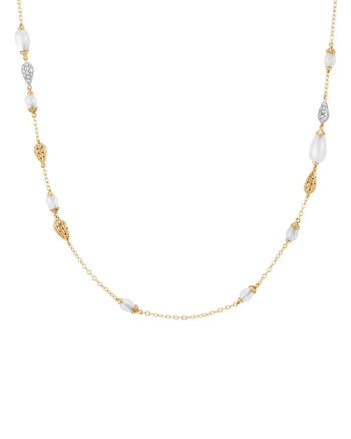 JOHN HARDY - 18K Yellow Gold Classic Chain Pavé Diamond & White Moonstone Necklace, 36""