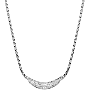 John Hardy Sterling Silver Classic Chain Silver Pave Diamond Arch Necklace, 16