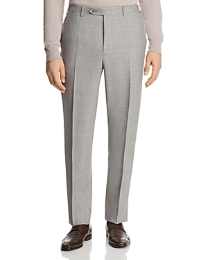Canali Solid Open Micro Box Weave Regular Fit Dress Pants