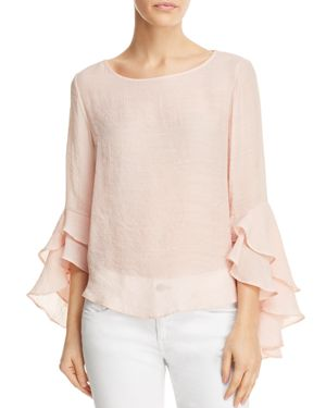 SOLOISTE TIERED RUFFLE BELL SLEEVE TOP