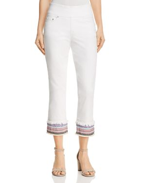 Jag Jeans Peri Embroidered Cuff Straight Ankle Jeans in White 2846939