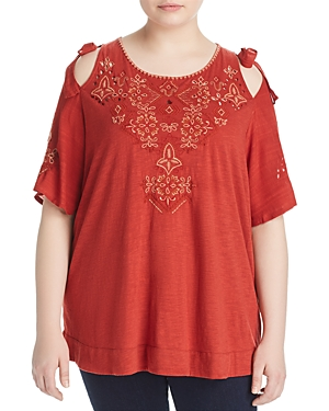 New Lucky Brand Plus Embroidered Cold Shoulder Top, Heirloom Red