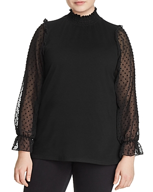 New Love Ady Plus Embroidered Mixed Media Top, Black