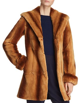 Maximilian Furs - Hooded Plucked Mink Fur Coat - 100% Exclusive