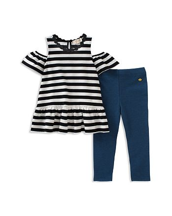 kate spade new york - Girls' Striped Cold-Shoulder Top & Leggings Set - Baby