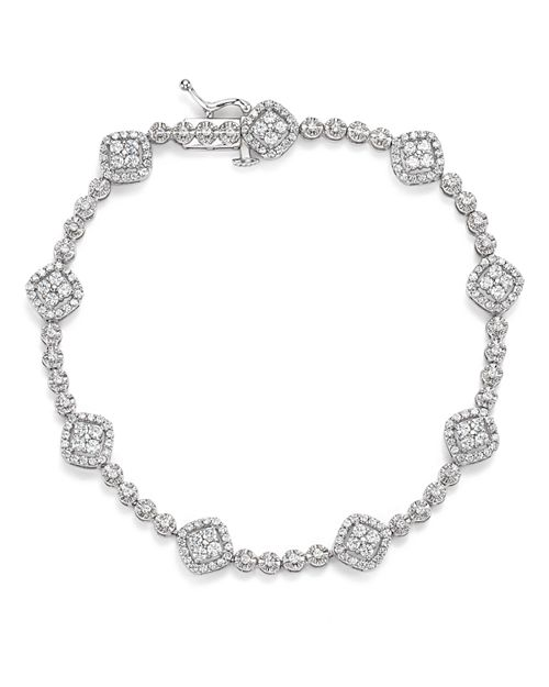Bloomingdale's - Diamond Cluster Station Tennis Bracelet in 14K White Gold, 2.0 ct. t.w. - 100% Exclusive