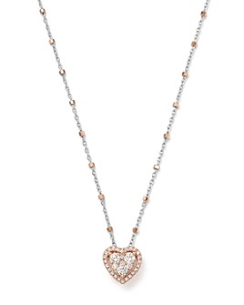 Bloomingdale's - Diamond Heart Pendant & Satellite Chain Necklace in 14K Rose & White Gold, 0.40 ct. t.w. - 100% Exclusive