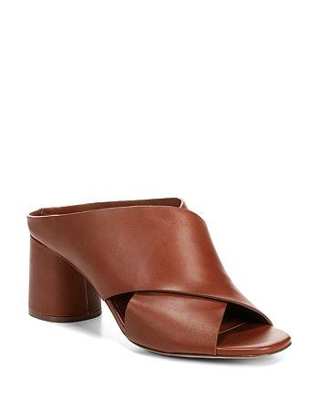 Vince - Women's Theron Leather Block Heel Slide Sandals