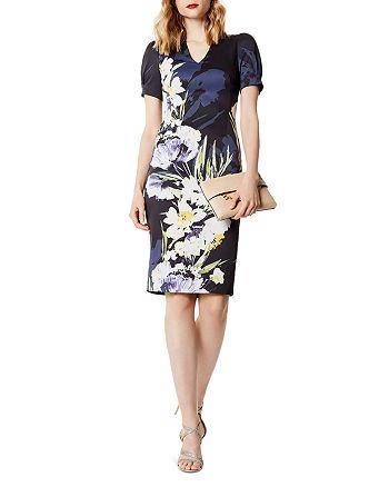 KAREN MILLEN - Puff-Sleeve Floral Print Dress