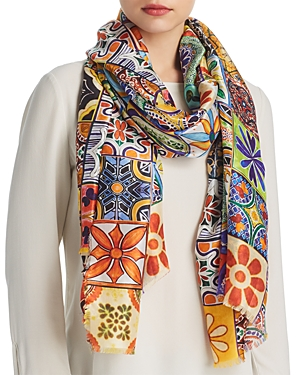 Larioseta Tile Print Silk Scarf