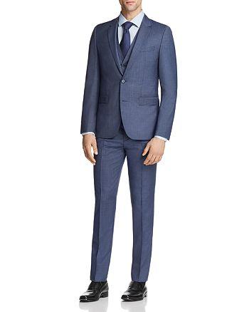 HUGO - Astian/Hets Slim Fit Tonal Micro Check 3-Piece Suit