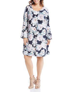 Karen Kane Plus Taylor Floral Print Bell Sleeve Dress 2858700