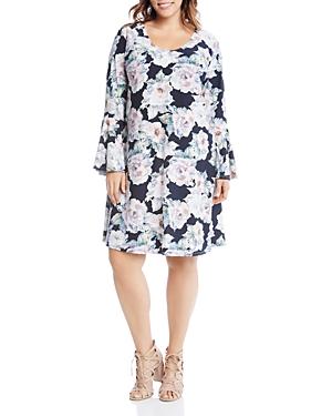 New Karen Kane Plus Taylor Floral Print Bell Sleeve Dress, Floral Print