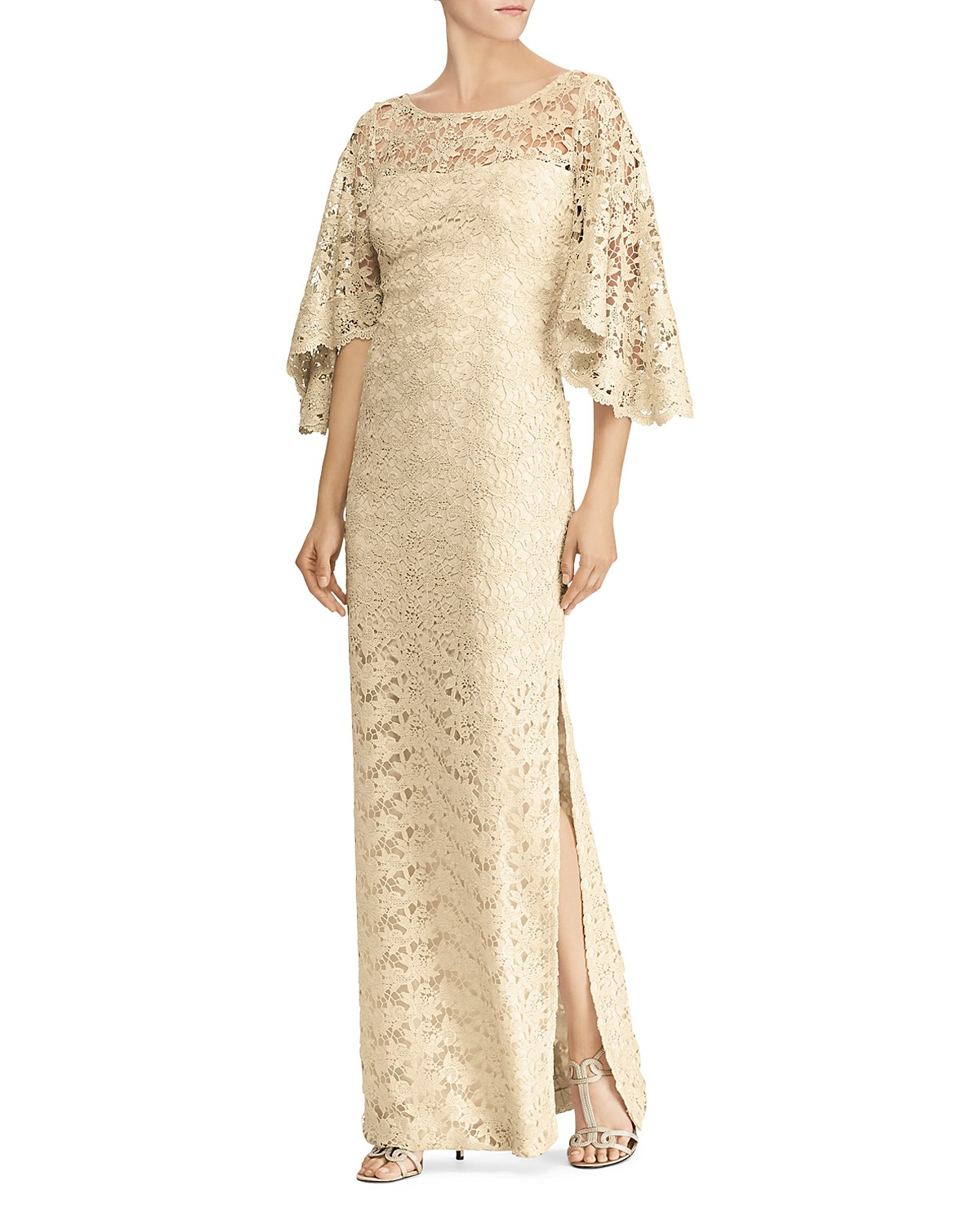 Lauren Ralph Lauren Flutter-Sleeve Lace Gown - 100% Exclusive ...