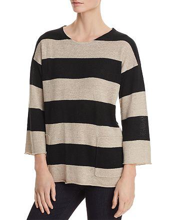 Eileen Fisher Petites - Striped Organic Linen Sweater
