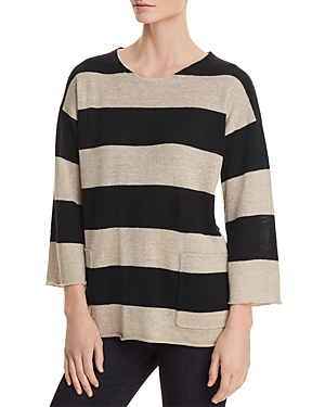 Eileen Fisher Organic Linen Awning-Stripe Sweater