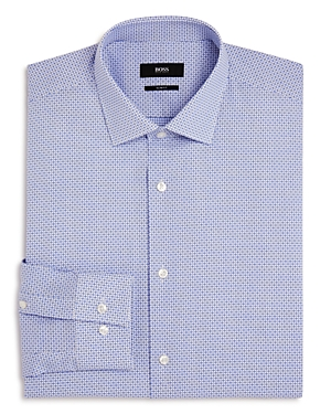 Boss Dobby Open-Check Slim Fit Dress Shirt
