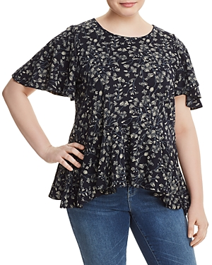 New Lucky Brand Plus Floral-Print Top, Navy Multi