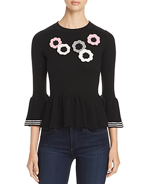 kate spade new york Crochet-Flower Peplum Sweater