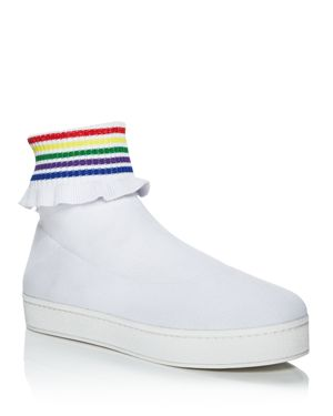 Woman Bobby Ruffle-Trimmed Stretch-Knit High-Top Sneakers White in White Multi