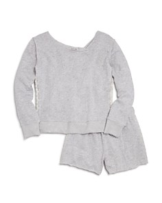 Splendid Girls' French Terry Sweatshirt & Shorts with Lace Panels - Big Kid - Bloomingdale's_0