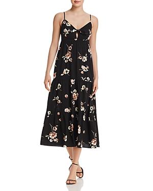 Aqua Tie-Detail Floral Print Dress - 100% Exclusive