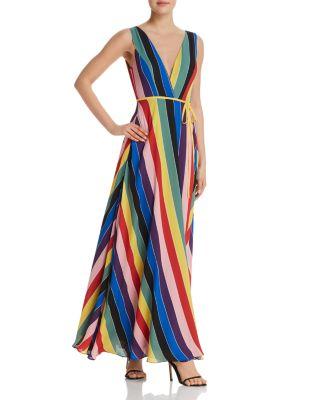 $AQUA Rainbow Striped Maxi Wrap Dress - 100% Exclusive - Bloomingdale's