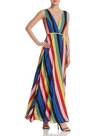 AQUA - Rainbow Striped Maxi Wrap Dress - 100% Exclusive