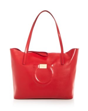 City Quilted Gancio Leather Tote - Red, Lipstick