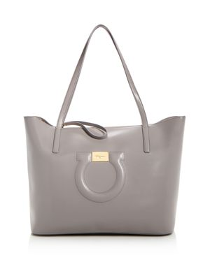 City Quilted Gancio Leather Tote - Grey, Pale Grey