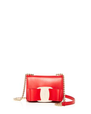 Oversized Vara Rainbow Leather Crossbody, Lipstick Red/Gold