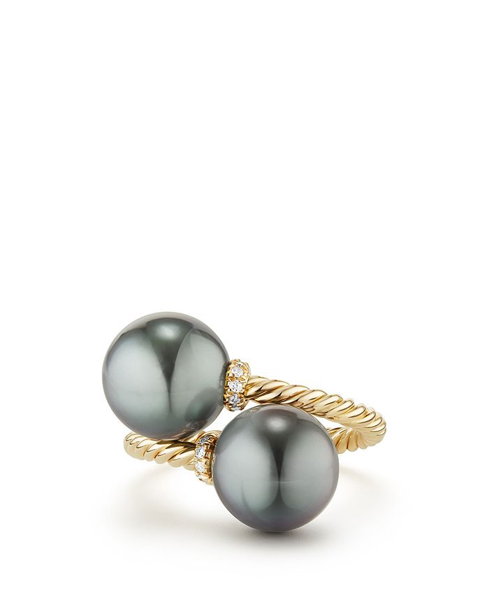David Yurman - Solari Bypass Ring with Diamonds & Cultured Tahitian Gray Pearls in 18K Gold