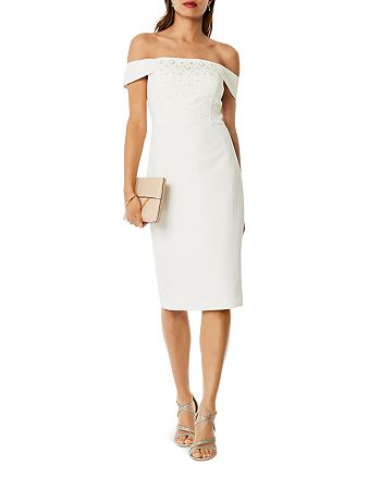 KAREN MILLEN - Embellished Off-the-Shoulder Dress
