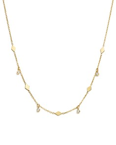 "Zoë Chicco - 14K Yellow Gold Itty Bitty Dangling Diamond Choker Charm Necklace, 14"""