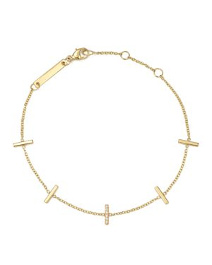 Zoe Chicco 14K Yellow Gold Vertical Tiny Pave Diamond Bar Bracelet