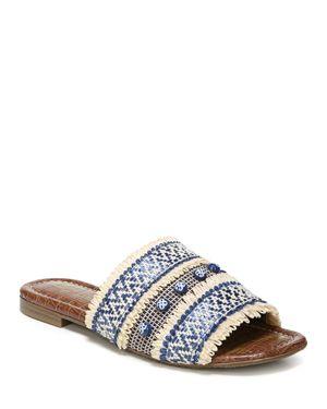 Sam Edelman Women's Brandon Raffia & Leather Slide Sandals 2843217