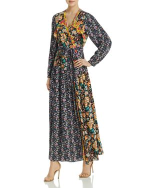 Floral-Printed Maxi Wrap Dress in Multicolour