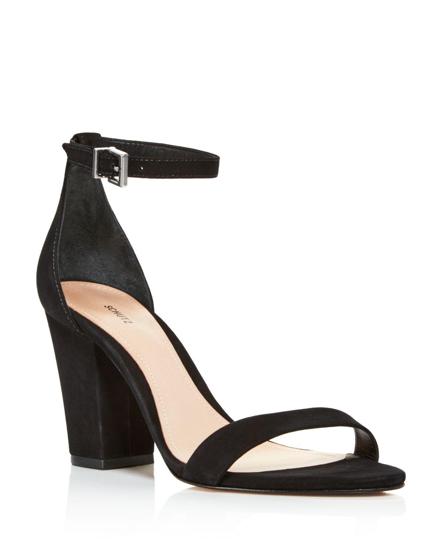 Schutz Women's Jenny Lee Suede Ankle Strap Block Heel Sandals
