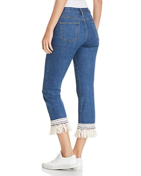 Tory Burch - Connor Fringe-Trimmed Straight Crop Jeans in Stonewash