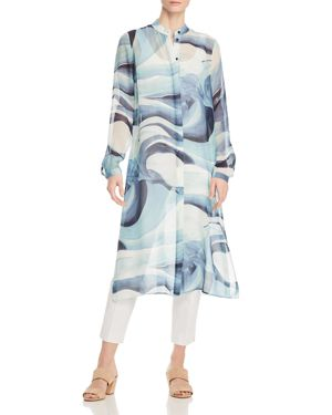 Lafayette 148 New York Auden Marble-Print Silk Duster Top