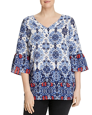 Status by Chenault Plus Medallion-Print Bell-Sleeve Top