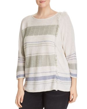 NIC AND ZOE PLUS Juniper Fringe Stripe Linen Blend Sweater in Multi