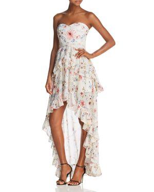 Aqua Floral Strapless High/Low Maxi Dress - 100% Exclusive