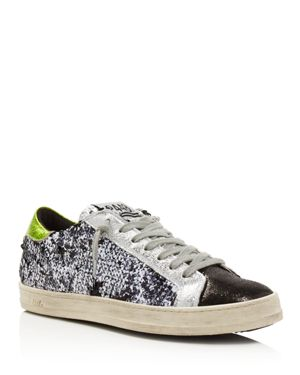 P448 Women'S John Sequined Low Top Lace Up Sneakers in Paillettes