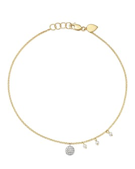 Meira T - 14K White & Yellow Gold Diamond Disc & Cultured Freshwater Pearl Charm Ankle Bracelet