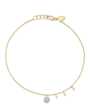 Meira T 14K White & Yellow Gold Diamond Disc & Cultured Freshwater Pearl Charm Ankle Bracelet