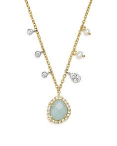 Meira T - 14K White & Yellow Gold Milky Aquamarine, Diamond & Dangling Cultured Freshwater Seed Pearl Necklace, 16""