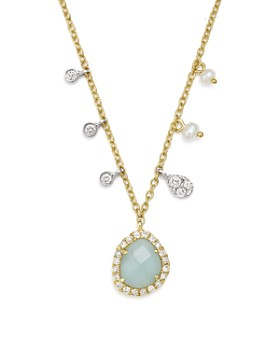 """Meira T - 14K White & Yellow Gold Milky Aquamarine, Diamond & Dangling Cultured Freshwater Seed Pearl Necklace, 16"""""""