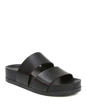 Women'S Milton Leather Platform Slide Sandals in Black Leather